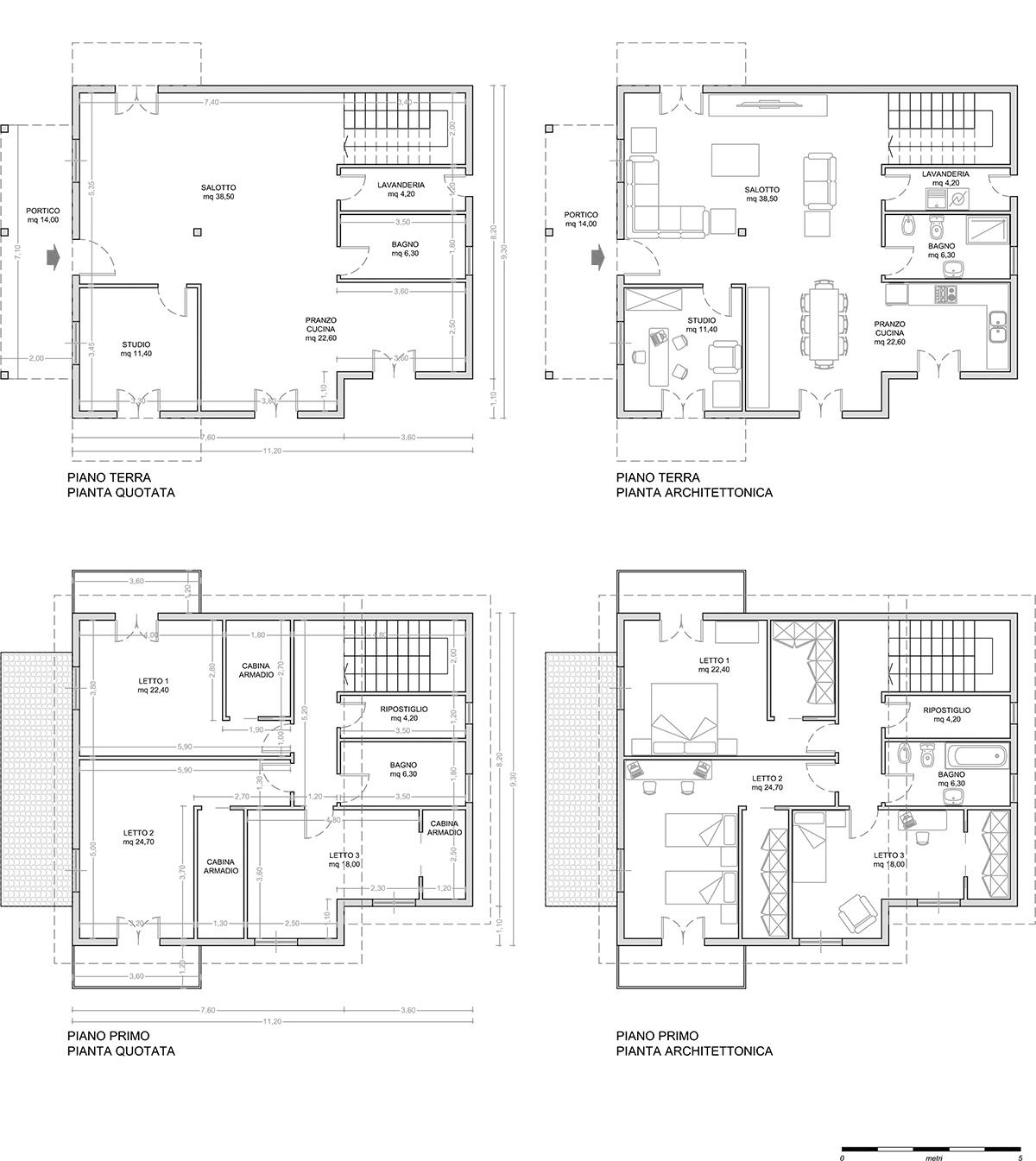 Casa 60 Mq Pianta casa azzurra - glg legnami case prefabbricate in legno